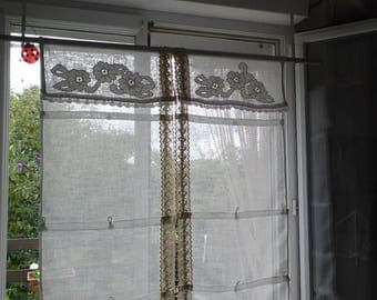 Curtain/store custom veil of linen and antique lace, shabby style