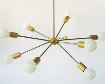 Mid Century Brass and Steel Sputnik Light