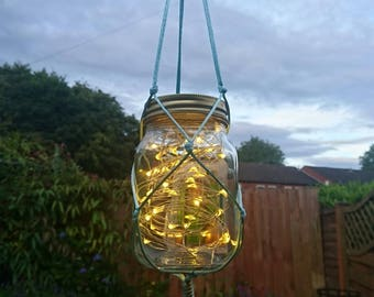 Hanging mason jar fairy lights