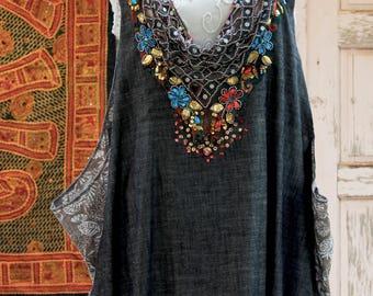 Oversized Dress, Ethnic Woman's, Gypsy Tunic, Bohemian Top For Womens, Maxi Kaftan Dress, Boho Art Wear, Fashions Plus Size, Oversized Maxi