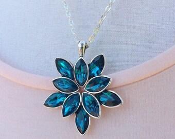 Blue flower pendant, peacock blue pendant, teal pendant, flower pendant, rhinestone pendant, summer pendant, boho jewellery,