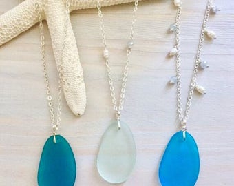 Sea Glass Necklace - Beach Glass Necklace - Sea Glass Jewelry - Mermaid Jewelry - Beach Wedding Jewelry - Beach Bridesmaid Necklace