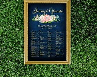 JENNY . Alphabetical Seating Chart Large Sign . Navy & Gold Pink Peony Dusty Miller White Rose Garland Blush Ranunculus Chalkboard . PRINTED