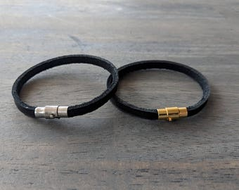 Glove Leather Bracelet- Black Single