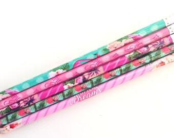 Flamingo pencils with erasers, set of 4 | tropical | flamingos