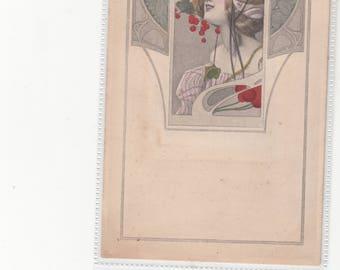 M.M. Vienne Antique Art Nouveau Postcard Beautiful Woman With Cherries Classic Period Style