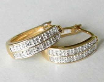 Vintage Sterling Silver Vermeil Gold Plated Oblong Hoop Earrings