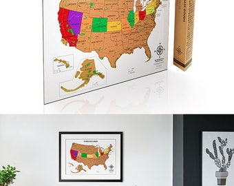 Scratch off USA Map with National Parks - Travel Tracker Map United States Edition- Gift Idea for Travel Lovers - Interactive Map Poster
