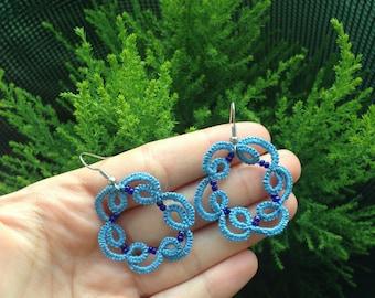 Floral earrings//tatting//con beads//Pendants//gift for girls//elegant