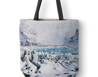 Iceland Tote Bag, Winter Landscape, Iceland Photography, Christmas Gift, Canvas Tote Bags, White Tote Bag, Tote Shopper Bag