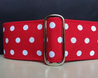 "Martingale Collar - Whippet, Greyhound, Italian Greyhound - 1"", 1.5"" and 2"" width - Red & White Polka Dot"