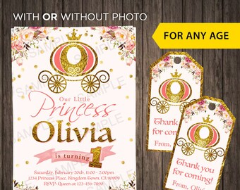 Princess Birthday Invitations First Birthday Invite With Photo Party 1st birthday Picture Princess Invite Pink and Gold Girls First Birthday