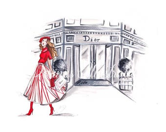 Paris art, Fashion illustration, Fashion sketch, Paris print, Fashion print, Fashion art, Fashion wall art, Fashion love, Paris illustration