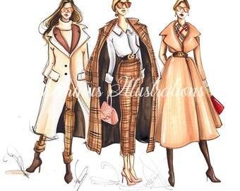 City girls of New York, Fashion Sketch, Fashion art, Fashion illustration, New York wall art, Fashion print, Fashion poster, Fashion girls