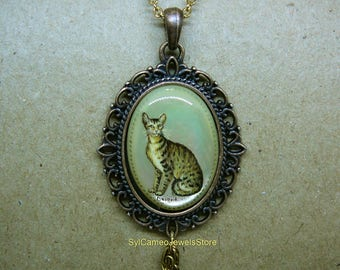 Hand Painted Orient Cat Cameo Pendant, Dangle Two Clear Crystal Charms Necklace, Original Wearable Art Jewelry