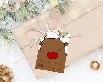 12 Reindeer Gift Tags, Christmas Handmade Gift Tags, 2.5 x 3.5 Hang Tag, Tags With To and From, Holiday Product Tags, Twine Included
