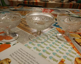 3 Tiara Indiana Glass Footed Dessert/Sherbet Cups