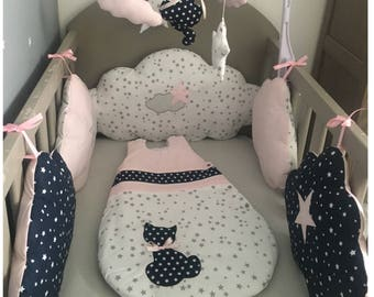 Bumper clouds in white cotton printed grey stars, pink and Navy blue white stars