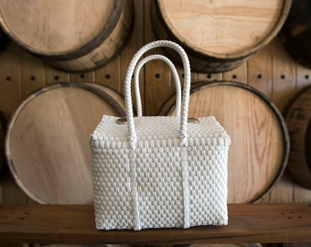 SMALL Oaxaca Bag, Woven Plastic Bag, Mexican Bag, White Basket
