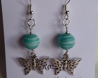 Green Swirl Glass Bead and Butterfly Earrings