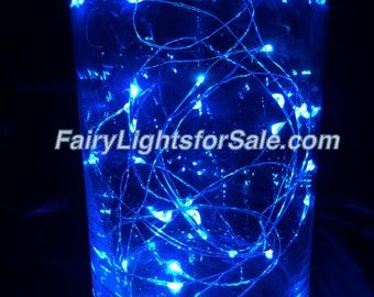 2m/6.6ft 5+ sets Blue 20 LED fairy light string strand button battery for DIY, centerpiece, wedding, costume, rave, EDM, event, decoration