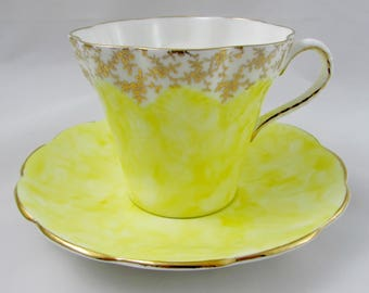 Vintage Yellow Tea Cup and Saucer, Yellow and Gold, Elizabethan Teacup, Fine Bone China, Yellow Cup and Saucer Set