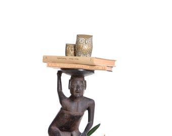 African sculpture mother with child, Plant stand wood, African art, African home decorations, living room sculpture