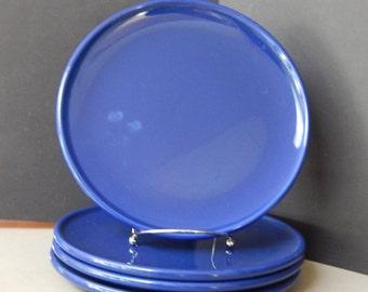 Set of 4 Waechtersbach Solid Colours Cobalt Blue Dinner Plates
