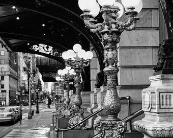 Plaza Hotel Lights, New York Photography, Black and White, Romantic, Bedroom Decor, Dining Room Decor, NYC Print, New York Wall Art