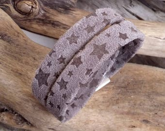 Leather bracelet doubles turn clear gray stars printed Boho jewelry By Dodie