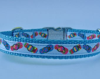 XS Dog Nautical Beach Vacation Dog Collar - Ocean Blue - Flip Flop with Metal Buckle - Ready to Ship!