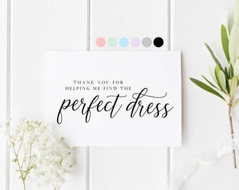 Thank You Wedding Dress, Thank You For Helping My Find The Perfect Dress, Wedding Dress Card, Wedding Dress Store Thank You Card, Boutique