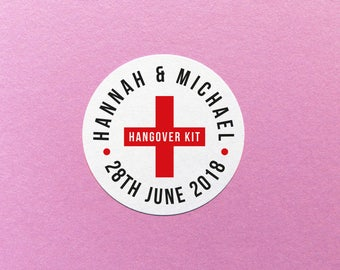 Personalised Hangover Kit Sticker, Emergency Hangover Kit, Custom Wedding Hangover Kit, Party Favor Labels, Personalized Hangover Kit Labels