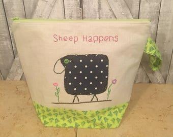 Sheep Happens Knitting Bag|Large Crochet Project bag|Hand Embroidered Project bag|Sock Bag|Knitting Project Bag|Toad Hollow Bag|Wedge Bag