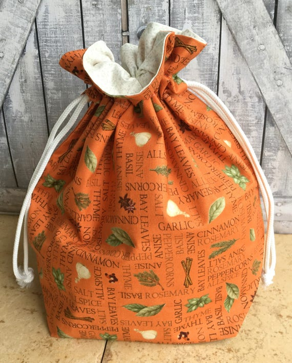 Knitting Project Bag|Herbs and Spices on Orange Backing Drawstring Project Bag|Crochet Project Bag|Knitting Bag|Crochet Bag|Toad Hollow Bag