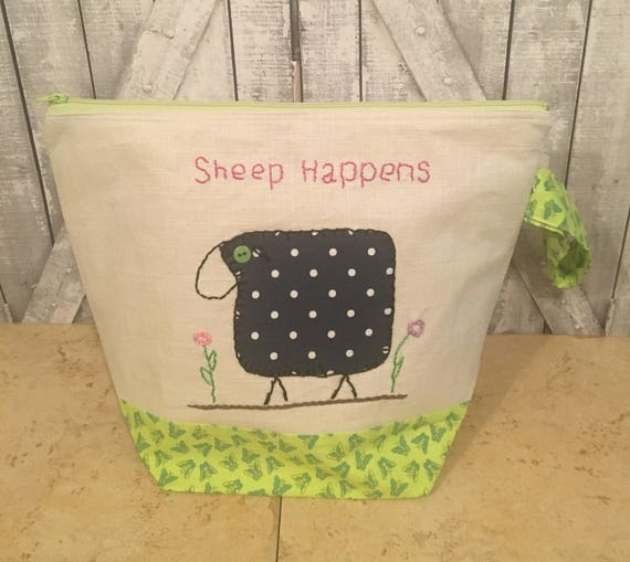 Sheep Happens Knitting Bag|Large Crochet Project bag|Hand Embroidered Project bag|Sock Bag|Knitting Project Bag|Toad Hollow Bag|Wedge Bag