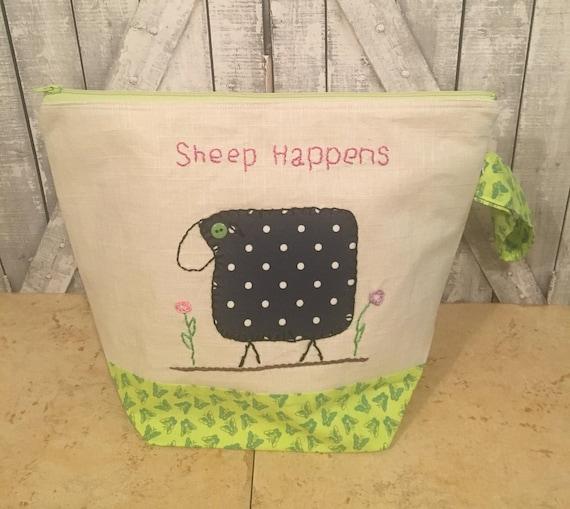 Sheep Happens Knitting Bag Large Crochet Project bag Hand Embroidered Project bag Sock Bag Knitting Project Bag Toad Hollow Bag Wedge Bag