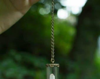 Precious Avalon * terrarium Moss bronze vial and white Quartz necklace