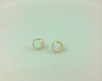 small opal stud earrings in 14Kt gold-filled; gold opal stud earrings; opal stud earrings gold; round opal stud earrings; October birthstone