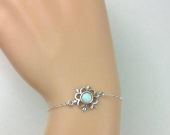 Sterling silver opal flower bracelet; opal bracelet; sterling silver bracelet; silver opal bracelet