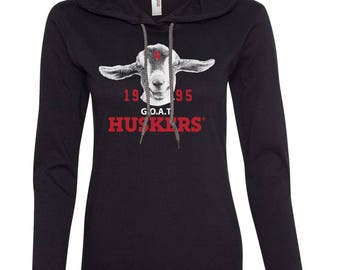 Women's 1995 Nebraska Huskers GOAT (Greatest Of All Time) Long Sleeve Hooded Tee Shirt Hoody With Relaxed Unlined Hood With Drawcord