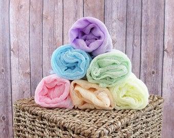 Mini Pastel Rainbow Newborn Cheesecloth Wraps, Set of 6 Baby Wraps, Maternity Cheesecloth Wraps