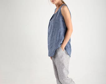 Blue Linen Tank Top with V Neck / Blue Linen Blouse / Blue Linen T-Shirt / Loose Fitting Top / Sleeveless Maternity Top / Maternity Blouse