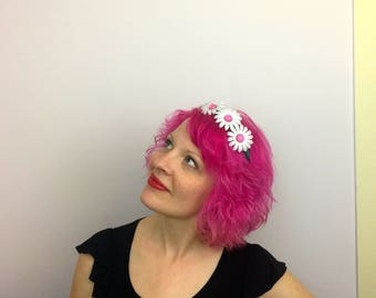 RTS Plastic Fantastic Vintage Plastic Daisy Flower Crown, Flower Headband