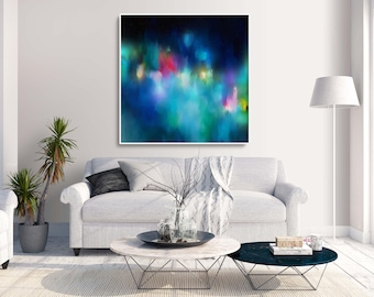 Blue Painting, Large Blue WALL ART, Blue Canvas Painting, Turquoise Art, Large Abstract Art 'Samui II'