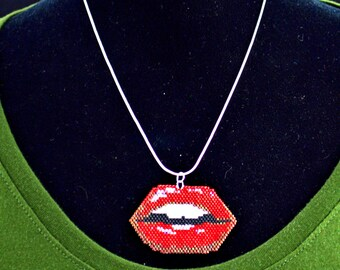 Beaded Lips Necklace