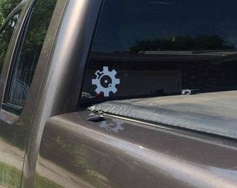 AR bolt face window decal (car, truck decal)