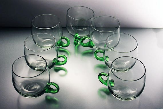 Glass Cups, Sussmuth, Germany, Punch Bowl Cups, Set of 7, Hand Blown Glass, Green Handled, Clear Glass