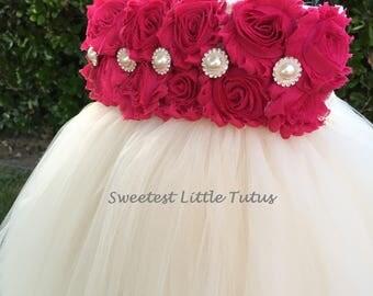 Fuchsia and Ivory Flower Girl Tutu Dress/ Fuchsia Flower Girl Dress/Hot Pink Flower Girl Dress/ Pink Flower Girl Dress/ Flower Girl Dress