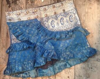 NEW! S-M, MERMAID MAGIC, Ruffle Skirt: Silver Design, Silk Sari, Tribal, Belly Dance, Bohemian, Ruffle, Adjustable, Plus Size, Mini, Barocco
